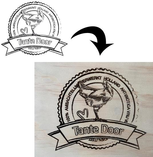 Logo op hout gebrand