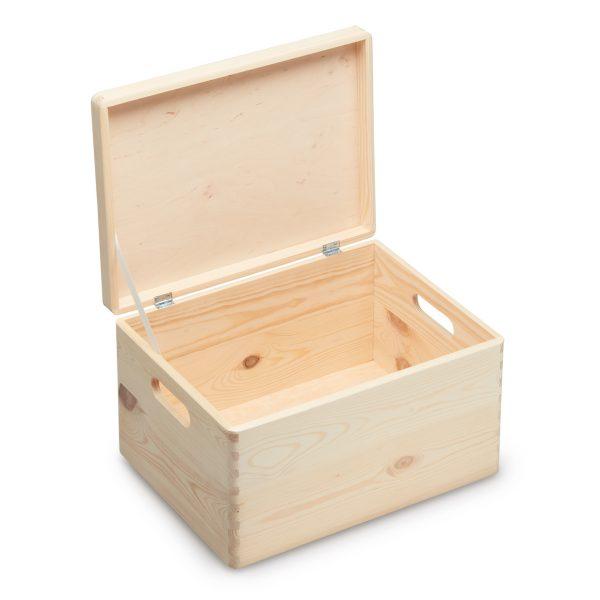 Houten kist met deksel 40x30x23 - Open