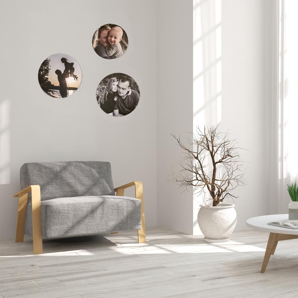Fotowand - foto op hout cirkels
