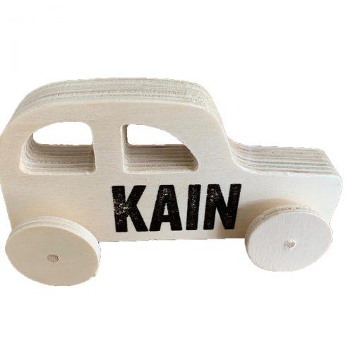 Houten auto met naam