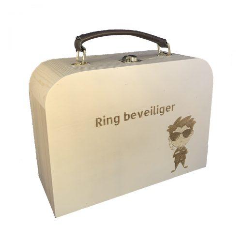 Houten koffertje ring beveiliger