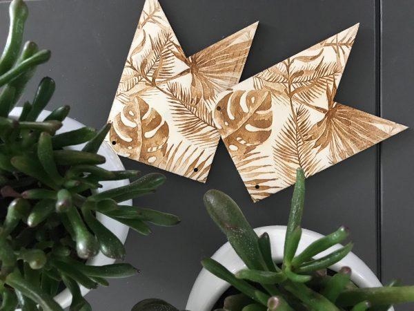 Houten vlaggetje - jungle bladeren
