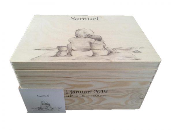 Memorybox met print geboortekaartje Samuel