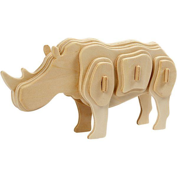 3D Houten constructieset neushoorn