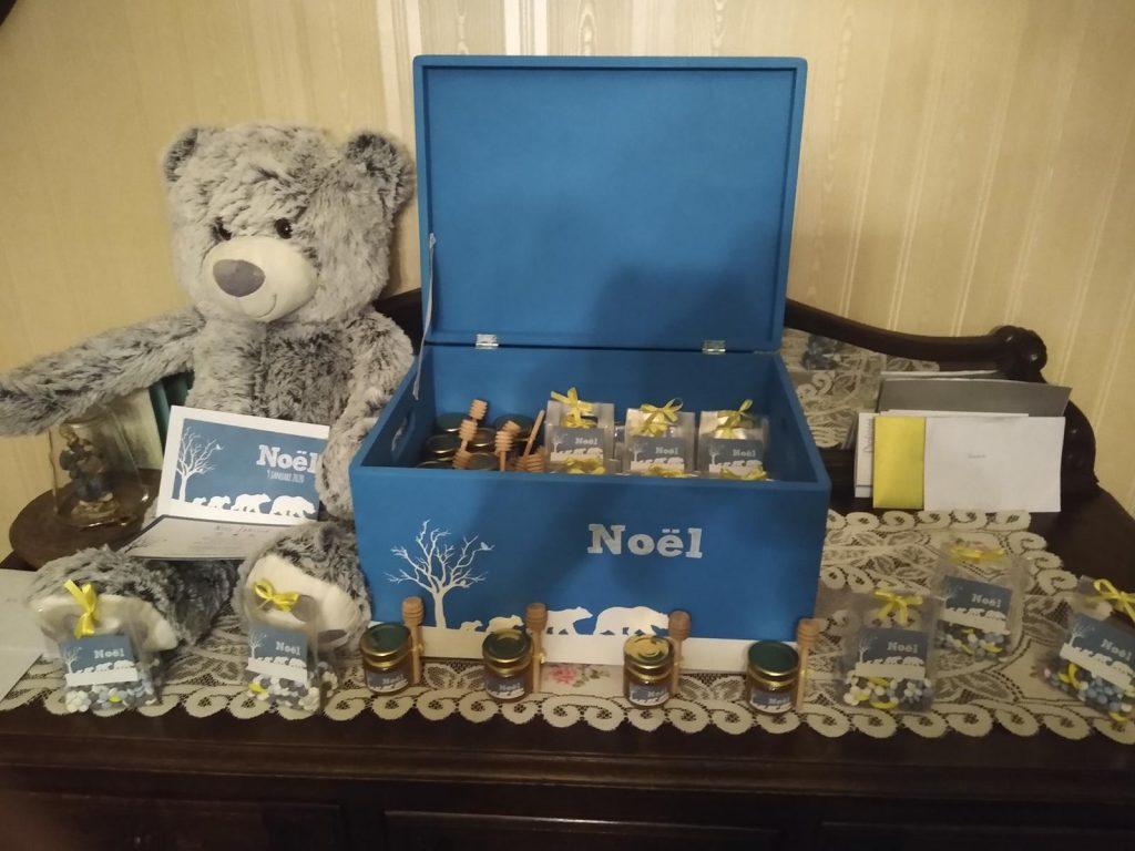 Doopsuiker houten kistje met geboortekaartje Noel