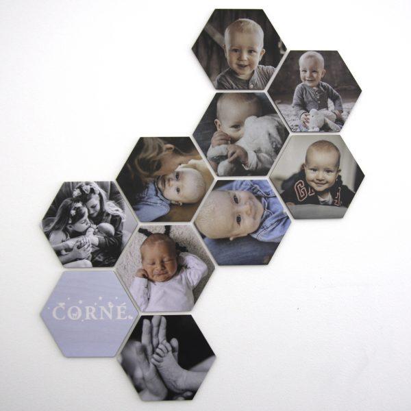 Foto op hout - hexagons