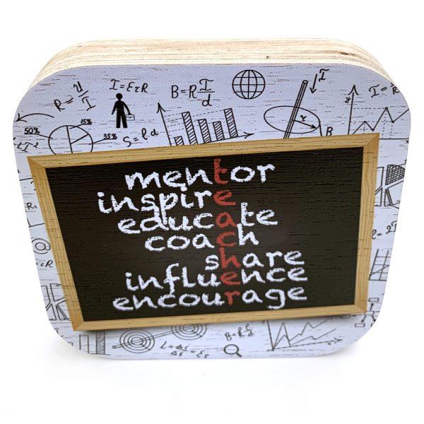Houtblok leerkracht bedankt