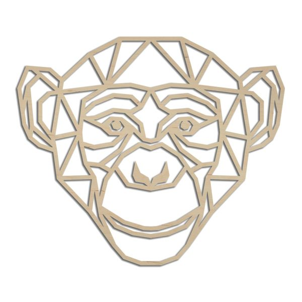 Houten geometrische aap wanddecoratie - Echt Uniek