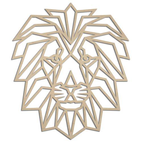 Houten geometrische leeuw wanddecoratie - Echt Uniek