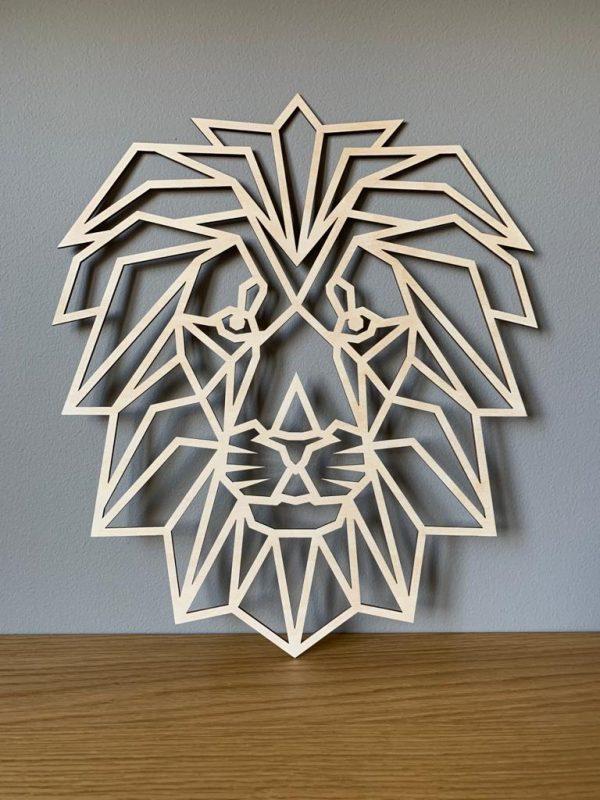 Houten leeuw geometrisch