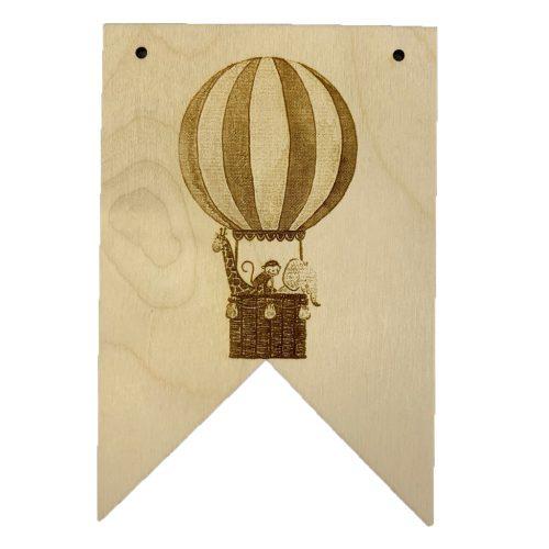 Houten vaantje luchtballon olifant