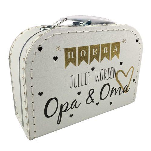 Kartonnen koffertje Hoera jullie worden opa en oma