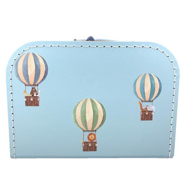 Kartonnen koffertje luchtballonnen lichtblauw