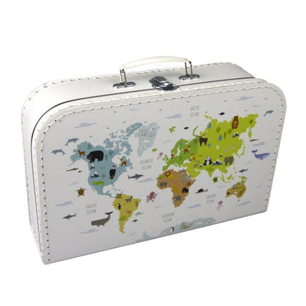 Kartonnen koffertje met wereldkaart print