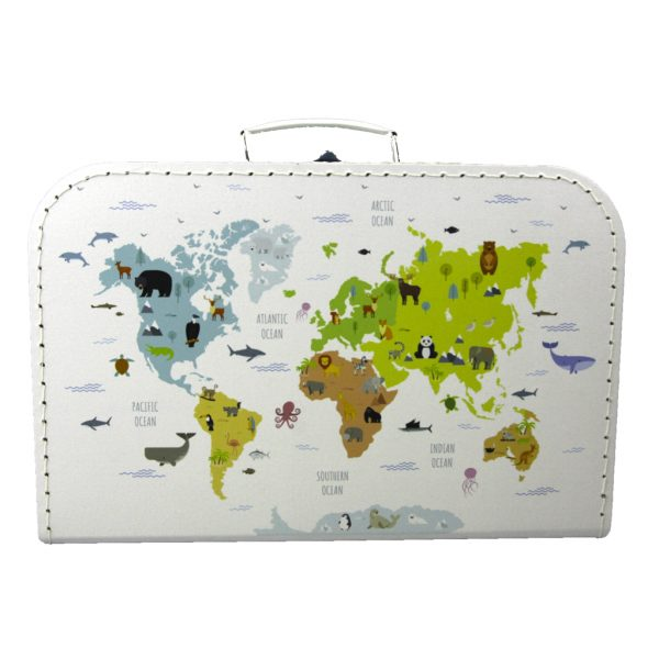 Kartonnen koffertje met wereldkaart print - wit 35 cm