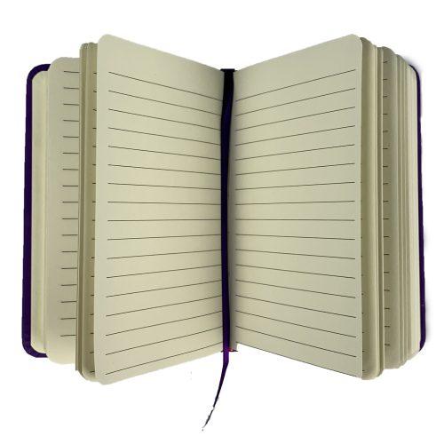 Notitieboekje Juf A6 paars open