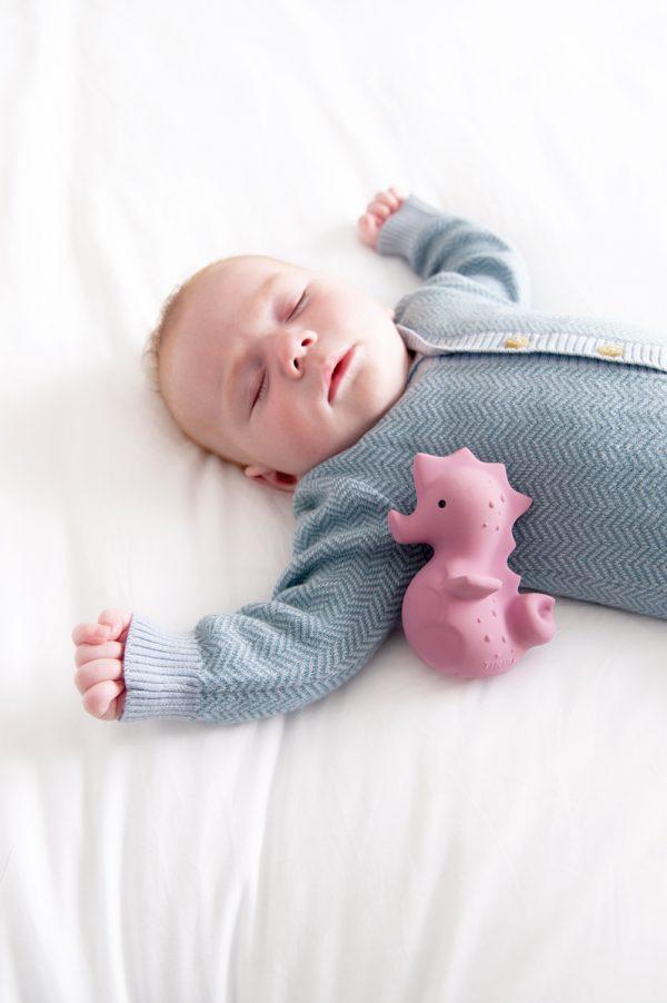 Rubberen zeepaard met baby - Tikiri