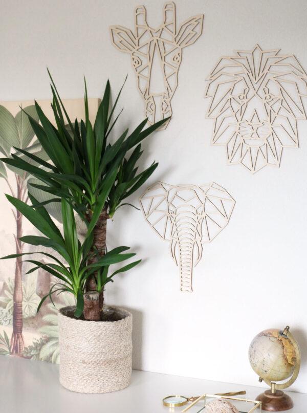 Houten muurdecoratie jungle dieren