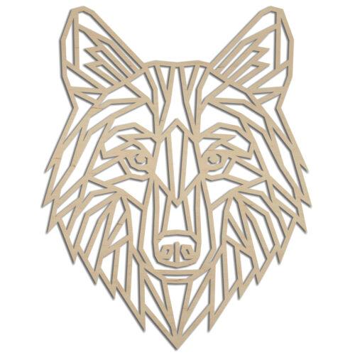 Houten geometrische wolf wanddecoratie - Echt Uniek